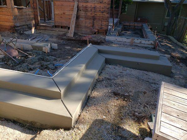 New concrete curb steps
