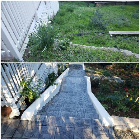 Back staircase before after