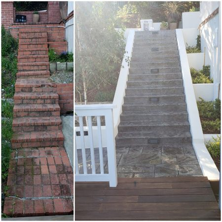Outdoor staircase before after